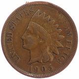 Moneda 1 Centavo Cabeza De Indio 1905 Indian Head Cent Eu