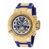 Relógio W99 Invicta Subaqua 18527 Skeleton Azul Com Maleta