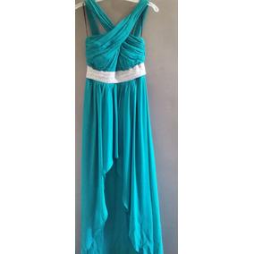 Vestido De Noche Largo Color Verde Turquesa Talla Chica