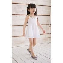 Lindo Vestido Infantil Branco Gola Bege De Renda Princesa