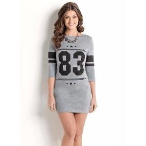 Vestido Cinza Esportivo Estampa Número