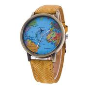 Reloj Mapamundi (mostaza)