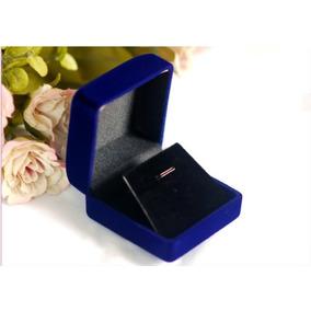 Caja Exhibidor Collar Aros Conjunto,terciopelo Azul Joyas