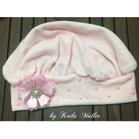 Boina De Plush Infantil Rosa Claro Flor E Pérolas G 5ddeac70e85