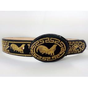 Cinturon Vaquero Bordado De Gallo 100%piel