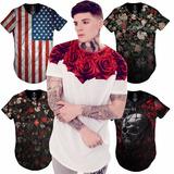 Camiseta Blusa Oversized Longline Floral Swag La Ny Kings