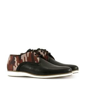 Zapatos De Cuero En Negro Camuflado Hombre Batistella