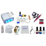 Kit Unhas Gel Primer Lixa Cabine Monomer Moldes Uv Alicate.