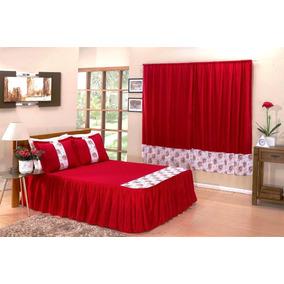 Colcha Casal+jogo Lençol+porta Travesseiros+cortina 2 Mts