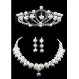 Coroa Tiara Noiva Debutantes Casamento + Colar + Brincos C15