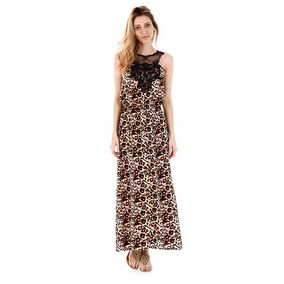 Vestido Longo Com Decote Rendado Facinelli - Marrom