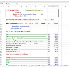 Planilha Para Gerenciamento De Condomínios (editável)