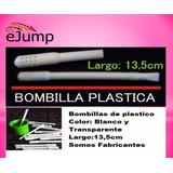 25 Bombillas De Plastico Para Mate, Blancas Y Transparentes