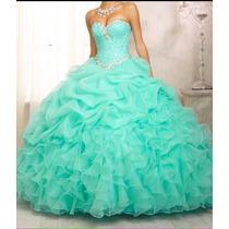 Vestido Debutante Verde Longo Festa 15 Anos Com Anagua