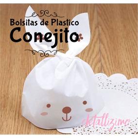 Bolsita De Conejito Blanca Plástico, Recuerdo Y Dulceros