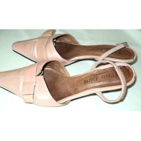 Zapatos Mujer Nº 37 Rosa Cuero Taco Chepete 4cm