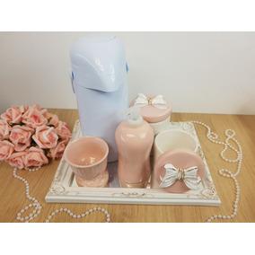 Kit Higiene Bebe Porcelana Laço Rosa Com Garrafa
