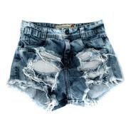 Shorts Jeans Feminino Instagram Rasgado Lycra  St015