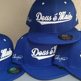 Boné Deus É Mais Thiagão Rap Gospel Azul Escrit Crazzy Store