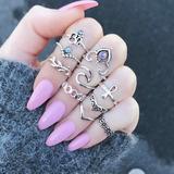 Anillo Corona Midi Ring Moda Fashion Color Mujer Set 10 Pzs