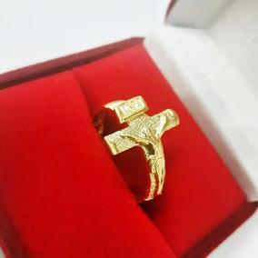 Anel Dedeira Masculino Folheado Banhado Ouro Cruz Cruxifixo