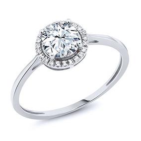 Anillo De Compromiso De Diamantes De Oro Blanco De 10q Co...