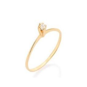 Anel Solitário Skinny Ring Com Zircônia Redonda Rommanel