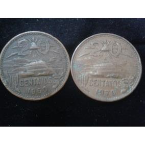 Lote De 2 Monedas De 20 Centavosde 1960, 70