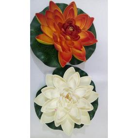 100x Flor Lotus Eva Flutuante 18cm Branca Laranja Decoração