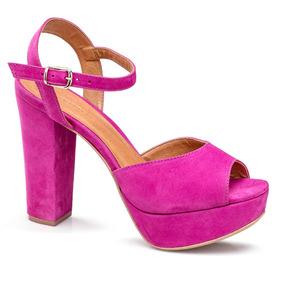 Sandália Meia Pata Flamarian Em Couro Pink 142272-6
