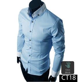 Camisa Social Slim Fit 100% Algodão Mod Ct43