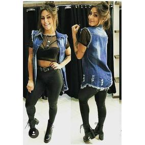 Colete Jeans Comprido Feminino Com 2 Bolso P M G Gg