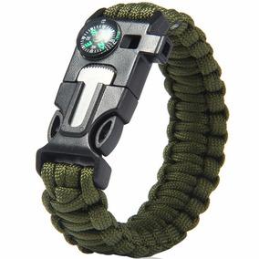 Pedernal Pulsera Tactica Supervivencia Paracord Verde D3045