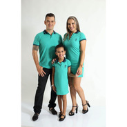 Pais E Filhos  Kit 3 Peças Camisa E Vestidos Verde Jade