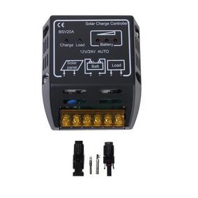 Controlador De Carga 20a 12/24v. + Par De Conectores Mc4