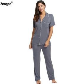 Manga Corta Algodón Pijama Set Pantalones... (gray, Xl .)