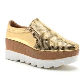 Zapato Casual Mujer Qupid Tipo Bostoniano Dorado Y Plata
