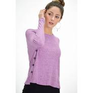 Sweater Básico Buzo Lanilla Lila Con Decoracion Botones
