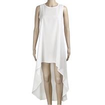 Vestido Casual Blanco... Corto Y Largo De Atrás. Talla L