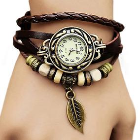 Relógio Feminino Redondo Retrô Pulseira Couro Marrom Vintage
