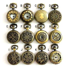 b717d48c1c1 Relógio Pingente Colar Pequeno Retro Bronze Com Corrente