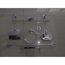 Kit Inox C/porta Shampoo 40cm Cabide 4 Ganchos Frete Grátis