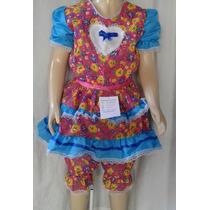 Vestido Festa Junina Caipira Quadrilha Infantil Menina7/8/10