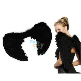 Alas Angel Negro Disfraz Mujer Plumas Negras Calidad