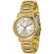 Relógio Feminino Dourado Lince Com Pedras Lrg4274l S2kx
