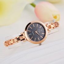 Relógio Feminino Moda Ouro 16 Lindo Luxo Clássico Folheado