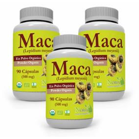 Maca Peruana Orgánica Certificada 3 Frascos De 90 Cápsulas