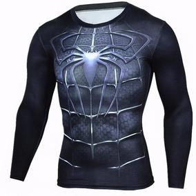Camiseta Hombre Araña Negro Manga Larga Slim Fit 3d
