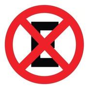 Placa Sinalização Proibido Parar E Estacionar 45x45 Redonda