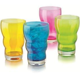 Set Juego De 4 Vasos De Colores De Vidrio Crisa Nuevo